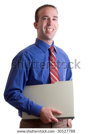 A happy working business man holding a folder and smiling, isolated against a white background