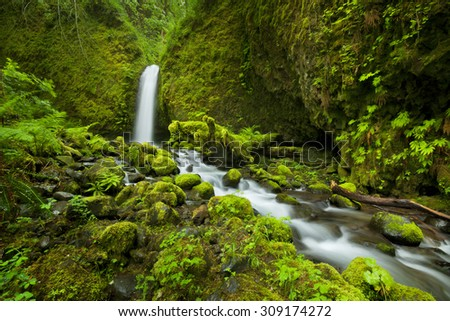 A hard-to-reach and remote waterfall in the backcountry of the Columbia River Gorge, Oregon, USA. - stock photo