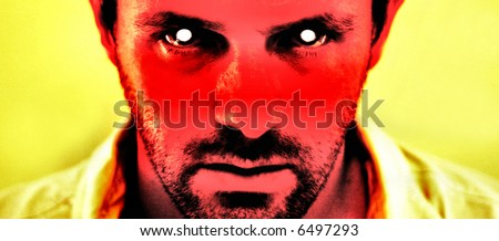A harrowing image of a scary devil like face. Great halloween concept - stock photo