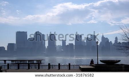 A hazy day in Lower Manhattan - stock photo