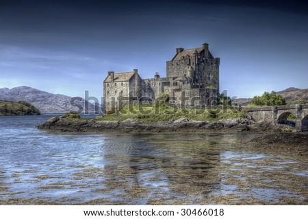 A hdri photography of the Eilean Donan Castle in Scotland - stock photo