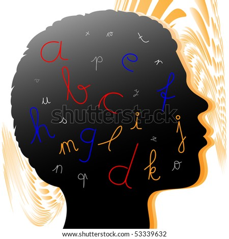 a head with letter like abc - stock photo