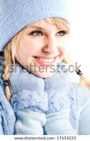 A headshot of a beautiful caucasian winter girl - stock photo