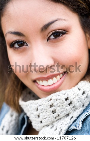 A headshot of a beautiful young african american woman - stock photo