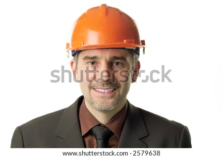 A headshot of an engineer, isolated on white