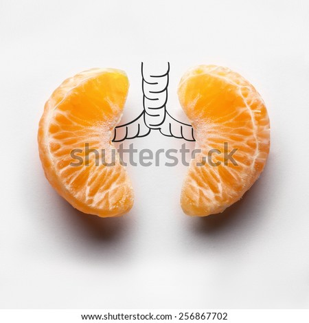 A health concept of unhealthy human lungs of a smoker with lung cancer in dark shadows, made of mandarin segments.