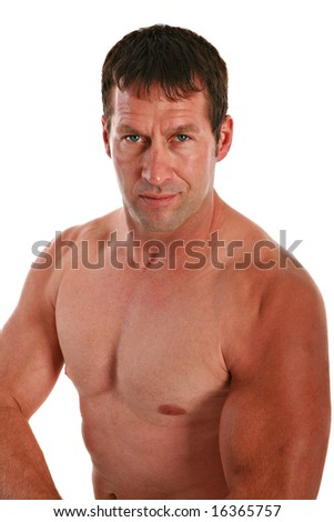 A Health Looking Male in 40s with Strong Muscle on Isolated White Background - stock photo