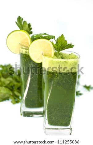A healthy cocktail of green parsley. - stock photo