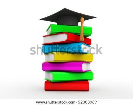 a heap of books and magistrate hat on the top of it - stock photo