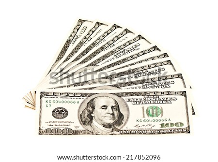 A heap of 100 dollar banknotes isolated on white  - stock photo