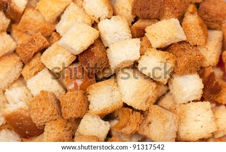 A heap of dried bread pieces - stock photo