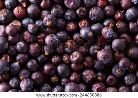 a heap of dried elderberries on dark background - stock photo