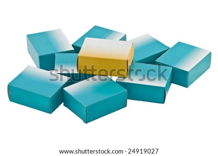 A heap of drug boxes isolated against a white background. The yellow box can suggest the newer drug which is more effective than the older in blue boxes.