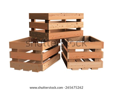 A heap of isolated empty wooden fruit crates - stock photo