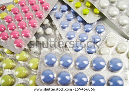 A heap of tablets blister 05 - stock photo