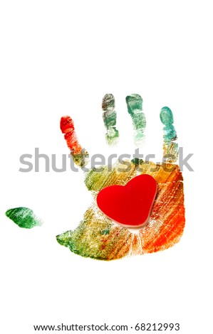 a heart in a colorful handprint on a white background - stock photo