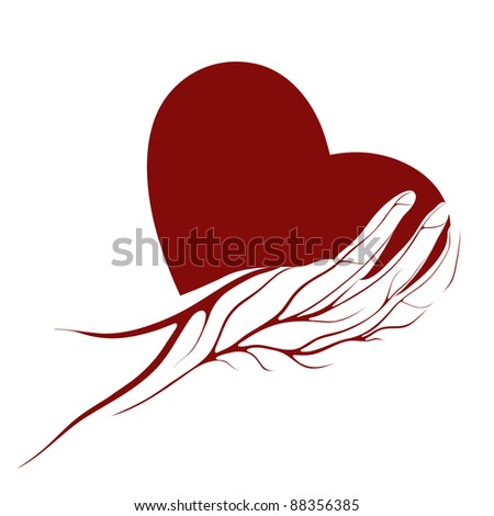A heart in a hand logo or sign.  Raster variant. - stock photo