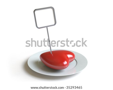 a heart lies on a dish.  In my portfolio there is collection of pictures of tablewares and heart. You only enter IN a SEARCH the Photographer Name: PAVEL IGNATOV and keyword: TABLEWARE or HEART - stock photo
