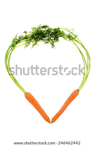 a heart made of organically grown carrots. fresh fruit and vegetables is always healthy. symbolic photo for healthy eating - stock photo