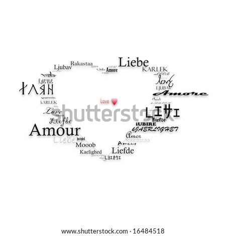 a heart shape form made up from the word love in 20 languages - stock photo