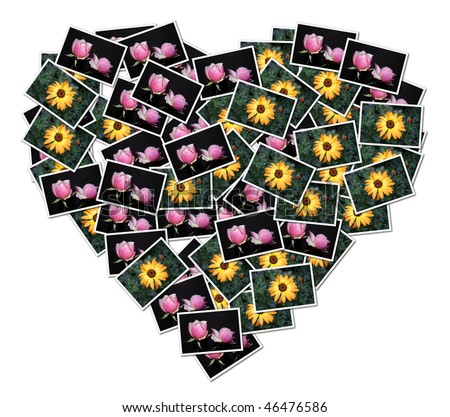 A heart-shaped collage made with pictures of flowers - stock photo