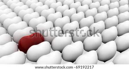 A heart standing out from the crowd. 3D love concepts. - stock photo