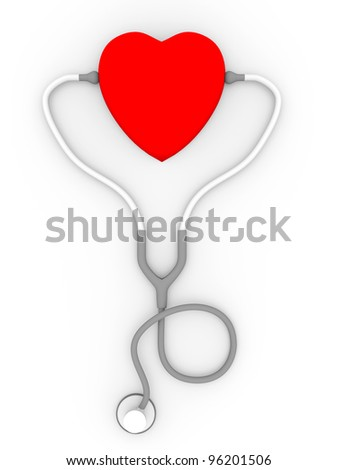 A heart with a stethoscope.  Concept of medicine and health - stock photo