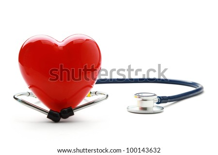 A heart with a stethoscope, isolated on white background - stock photo