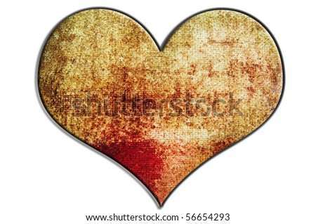 a heart with canvas texture isolated on a white background