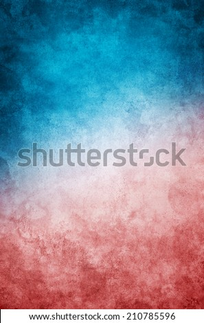 A heavily textured grunge paper background with a dark cyan-blue to red gradient. - stock photo