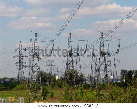 A heavy energy transmission line - stock photo