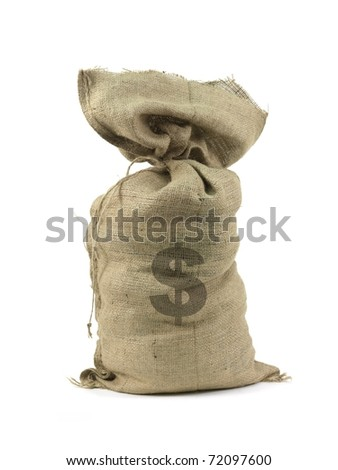 A hessian bag with cash isolated against a white background - stock photo