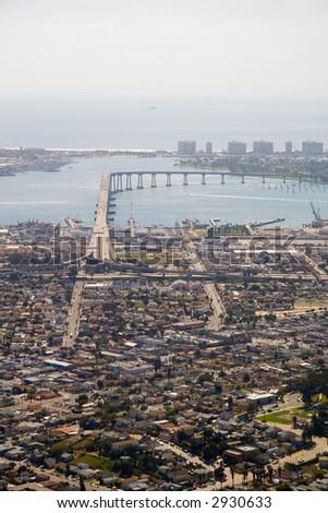 A high altitude view of San Diego and the Coronado Bridge. - stock photo