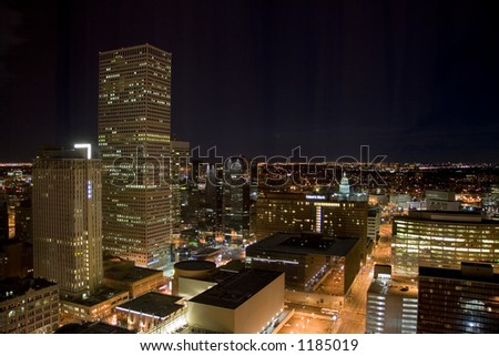 A high altitude view of the Denver downtown core including the Colorado State Capitol. - stock photo