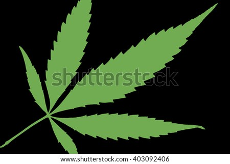 A high contrast weed leaf designed in black and green. - stock photo