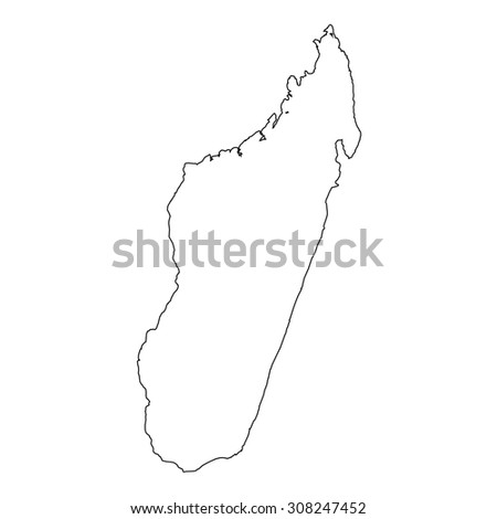High Detailed Vector Contour Map Madagascar Stock Vector - Madagascar map outline