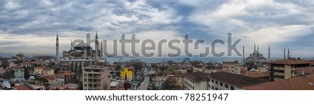 A high Dynamic range, panoramic image of the turkish city of Istanbul. - stock photo