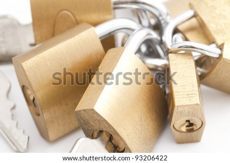 A high key image of some brass padlocks