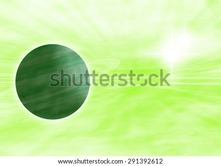A high resolution background with a planet hidden in the green-yellow nebula with a sun in the right corner - stock photo