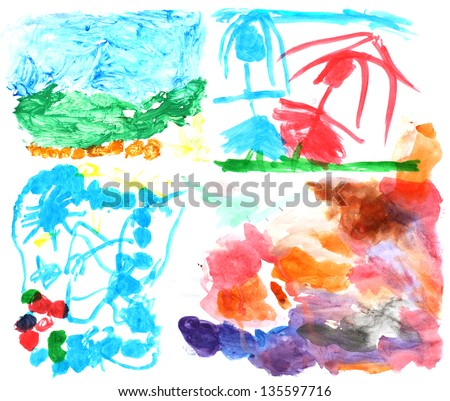 A high-resolution collection of watercolor paintings by my three year old daughter. - stock photo