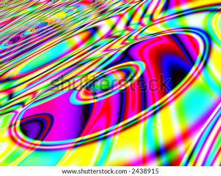 A high resolution, computer generated, fractal design that simulates a retro background with CDs. - stock photo