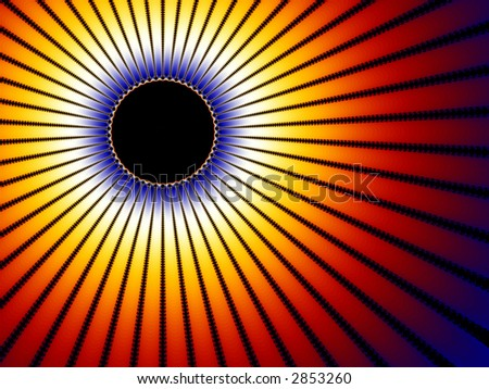 A high resolution, computer generated, fractal design that simulates a solar eclipse.