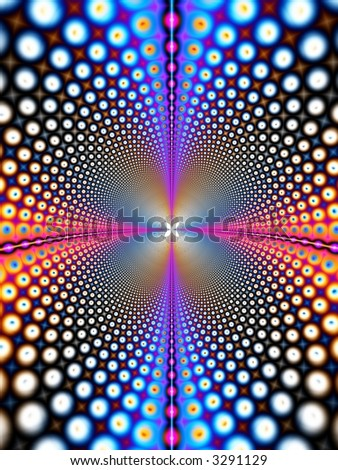A high resolution fractal that simulates interstellar travel thru a wormhole in outer space.  This can also be used for business concepts such as telecommunications or the internet.