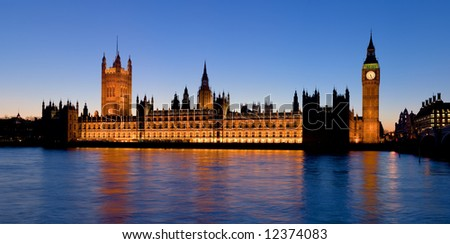 A high resolution panoramic view of the Palace of Westminster from the South Bank of the Thames in London, England - stock photo