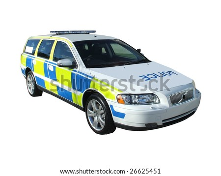 A High Speed Motorway Police Car. - stock photo
