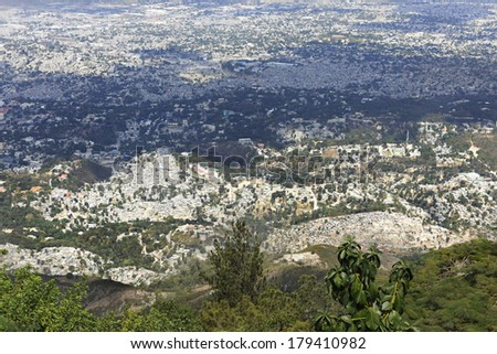 A high view overlooking the city of Port-Au-Prince, Haiti. - stock photo