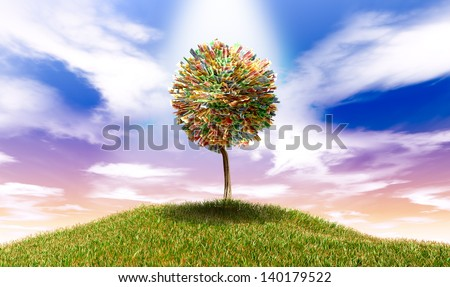 A highlighted stylized tree with leaves of south african rand bank notes on a grassy hill with a blue sky backdrop - stock photo