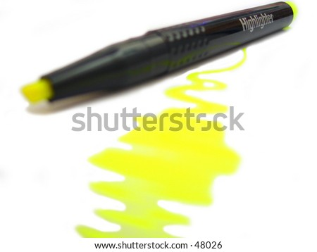 a highlighter perfectly isolated on a white background with a highlighted streak - stock photo