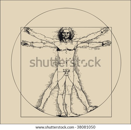 A highly stylized drawing of vitruvian man with crosshatching and sepia tones - stock photo