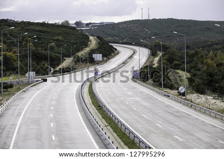 A-24 highway near Lamego and Viseu, Portugal - stock photo